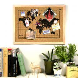 Bulletin Board mit Weltkarte | Schwarz / Natur